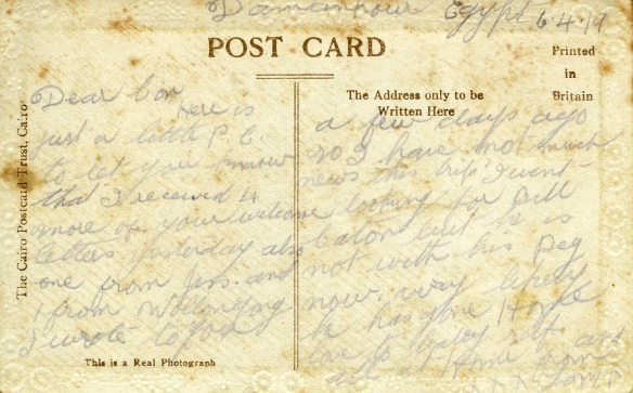 Postcard - from Thomas Kennedy Irwin Snr