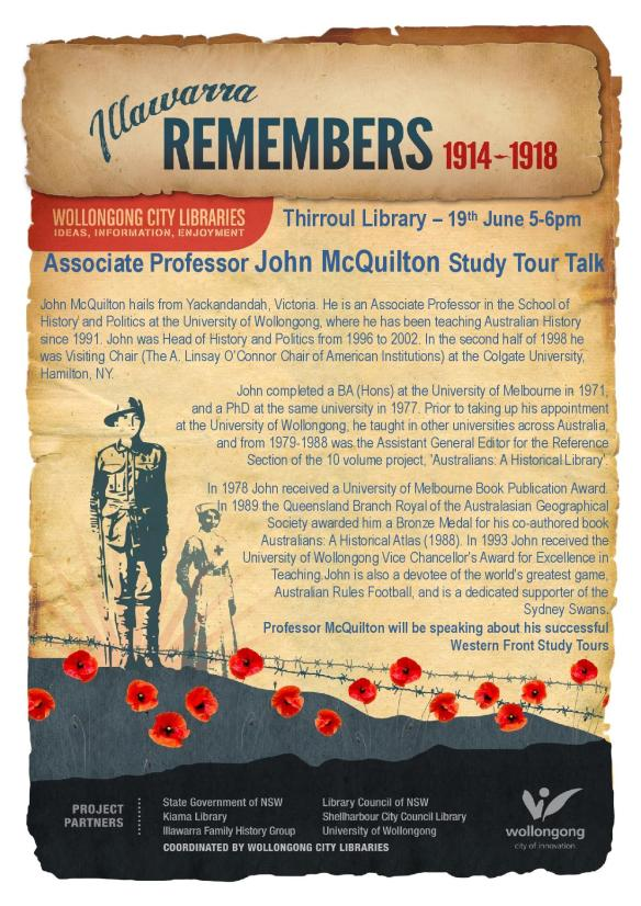 Flyer for John McQuilton Author talk 19th June Thirroul Library