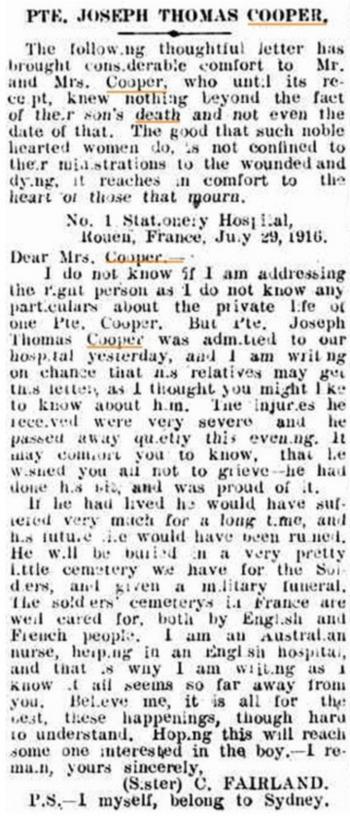 Kiama Independent. 4th October 1916.