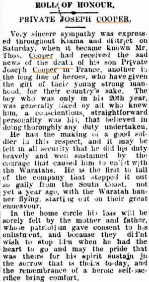 Kiama Independent. 9th August 1916.