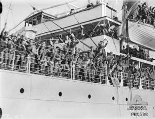 Troops on board SS Makarini prior to departure.