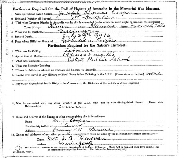 Document showing the possible relationship between Cooper and Donovan.