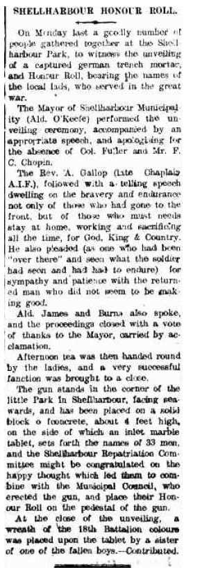 Shellharbour Honour Roll Kiama Reporter 28 June 1922