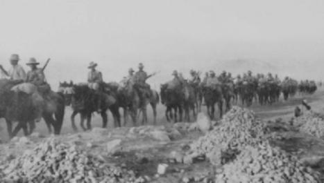 Tired Light Horsemen returning from the Amman raid, April 1918