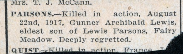 Newspaper notice of Parsons' death.