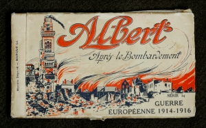 One postcard from a postcard booklet which depicts France after bombardments 1914-1916.