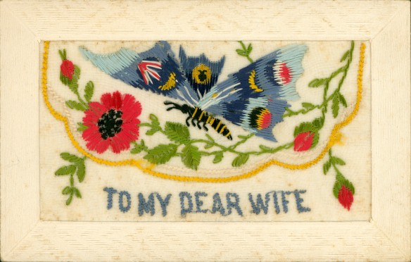 Embroided postcard to Jack's wife, 'Cis.'