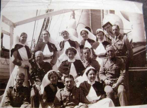 "Nurses, including Wakeford upon the hospital ship, ""Gascon."""