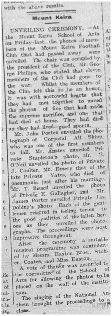 Illawarra Mercury, 15 February 1918 commemorating the fallen heroes, including E P Gllagher.