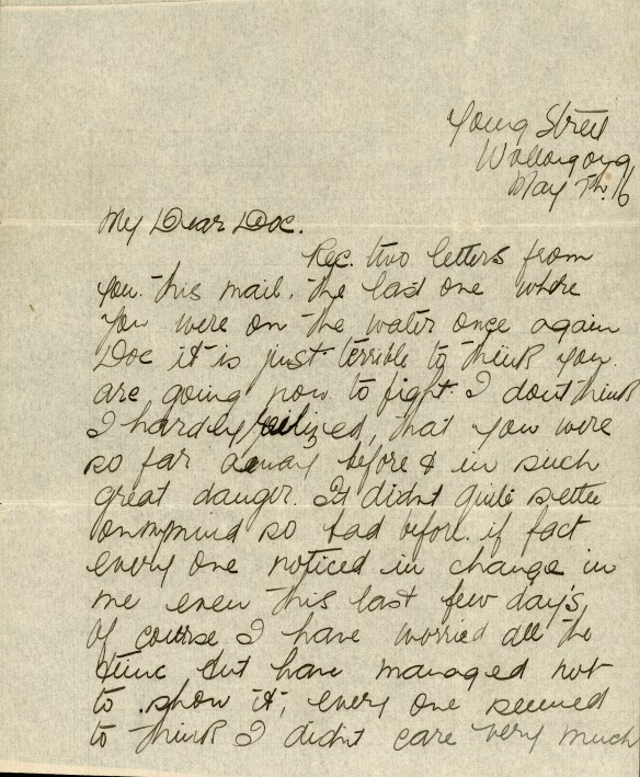 Page 1 of a letter from Myrtle to Doc.