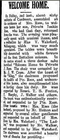 'Welcome Home,' Illawarra Mercury, 9/08/1918, p.7.