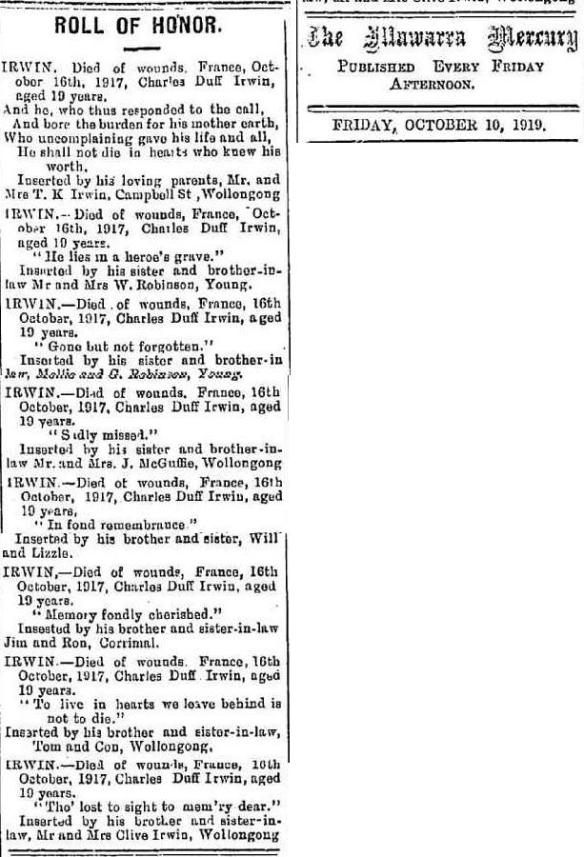 Illawarra Mercury: Roll of Honour 1919.