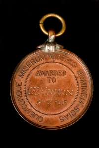 Surf Life Saving medal awarded to Charles Irwin (back).
